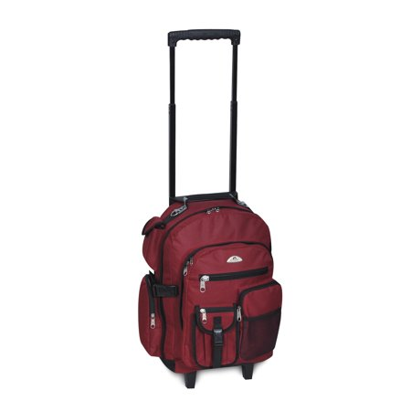 Everest Deluxe Backpack On Wheels 5045WH Burgundy OSFA - Discount On Backpacks
