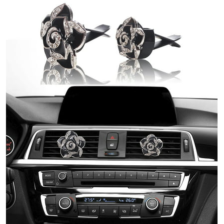 MINI-FACTORY Bling Car Accessories Interior Air Vent Crystal Rhinestone Diamond Flowers Decoration (1 Pair) - Black - The Walking Dead Car Accessories