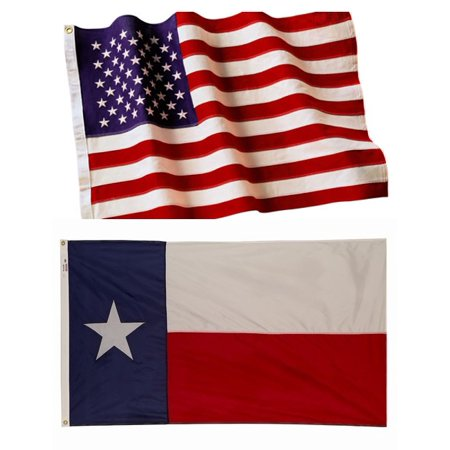 4x6 Embroidered American Flag & 4x6 Texas State Flag Both Made In The - Usa Made Texas State Flag
