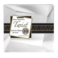"""1 - Party Essentials 10.75"""" Twist Square Plates - Clear 10 Ct."""