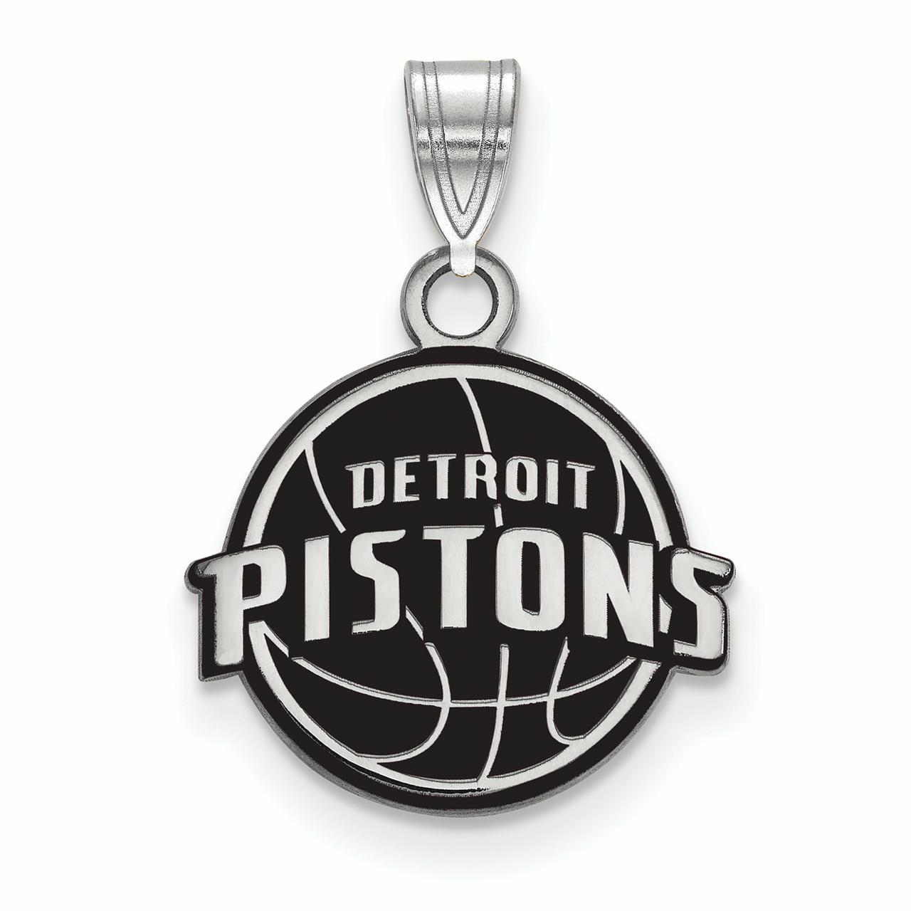 Detroit Pistons Women's Sterling Silver Small Enamel Pendant - No Size