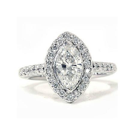 1 3/8ct Marquise Halo Diamond Ring 14K White Gold