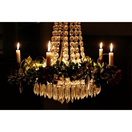 LAMINATED POSTER Candlelight Crystal Chandelier Christmas Poster Print 24 x - Candlelight Crystal