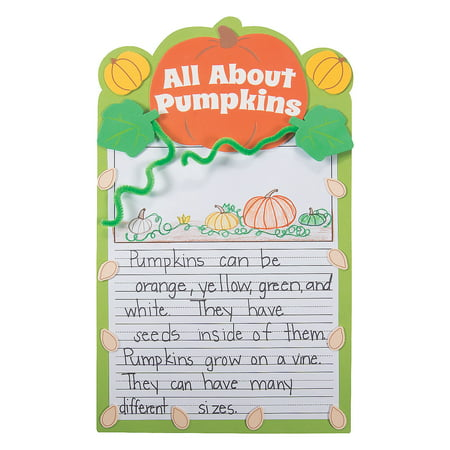 Fun Express - All About Pumpkins Writing Prompt ck for Fall - Craft Kits - Hanging Decor Craft Kits - Sign Decoration Craft Kits - Fall - 12 Pieces - Craft Pumpkin