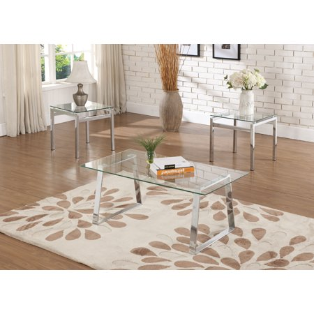 Macaria 3 Piece Chrome Metal & Tempered Glass Top Occasional Modern Cocktail Coffee & 2 End Tables Set