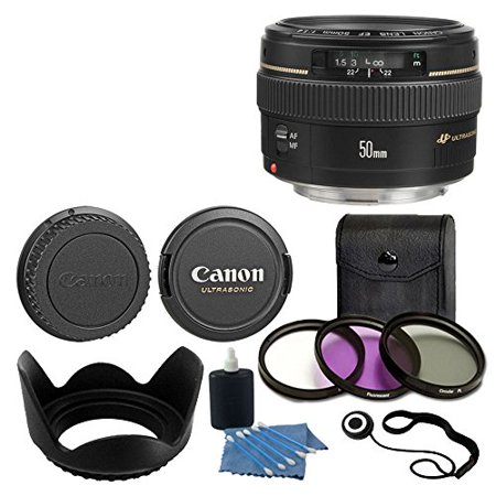 Canon EF 50mm f/1.4 USM Standard & Medium Telephoto Lens for Canon SLR Camera With 3 Piece Filter Kit (UV-CPL-FLD) + Lens Cleaning (Yongnuo Extender Ef 1-4 X Iii Teleconverter)