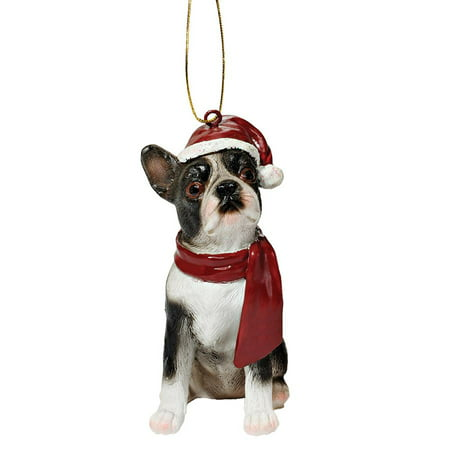 Design Toscano Boston Terrier Holiday Dog Ornament (Doe Ornament)