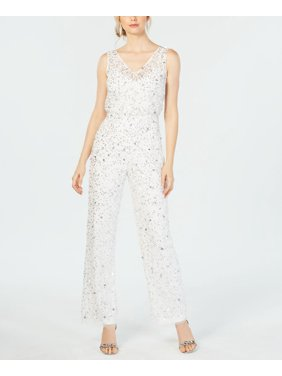 Womens Jumpsuit Cloud White Cruchy Sequined $299 14