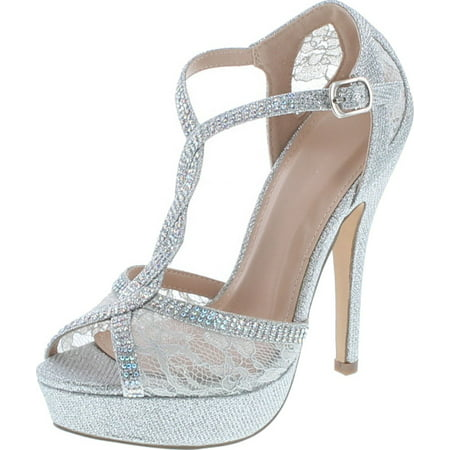Static Footwear HY-5 Formal Evening Party Lace Ankle T-Strap Peep Toe Stiletto High Heel Pumps Peep Toe T-strap Pumps