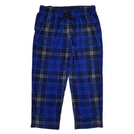 Big And Tall Plaid Robe - Mens Big & Tall Blue & Gray Plaid Brushed Fleece Sleep Pants Pajama Bottoms 2XB