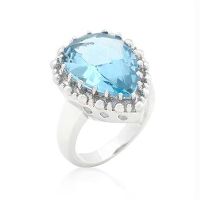 Solitaire Blue Topaz Cocktail Ring, Size : 08 - image 1 de 1
