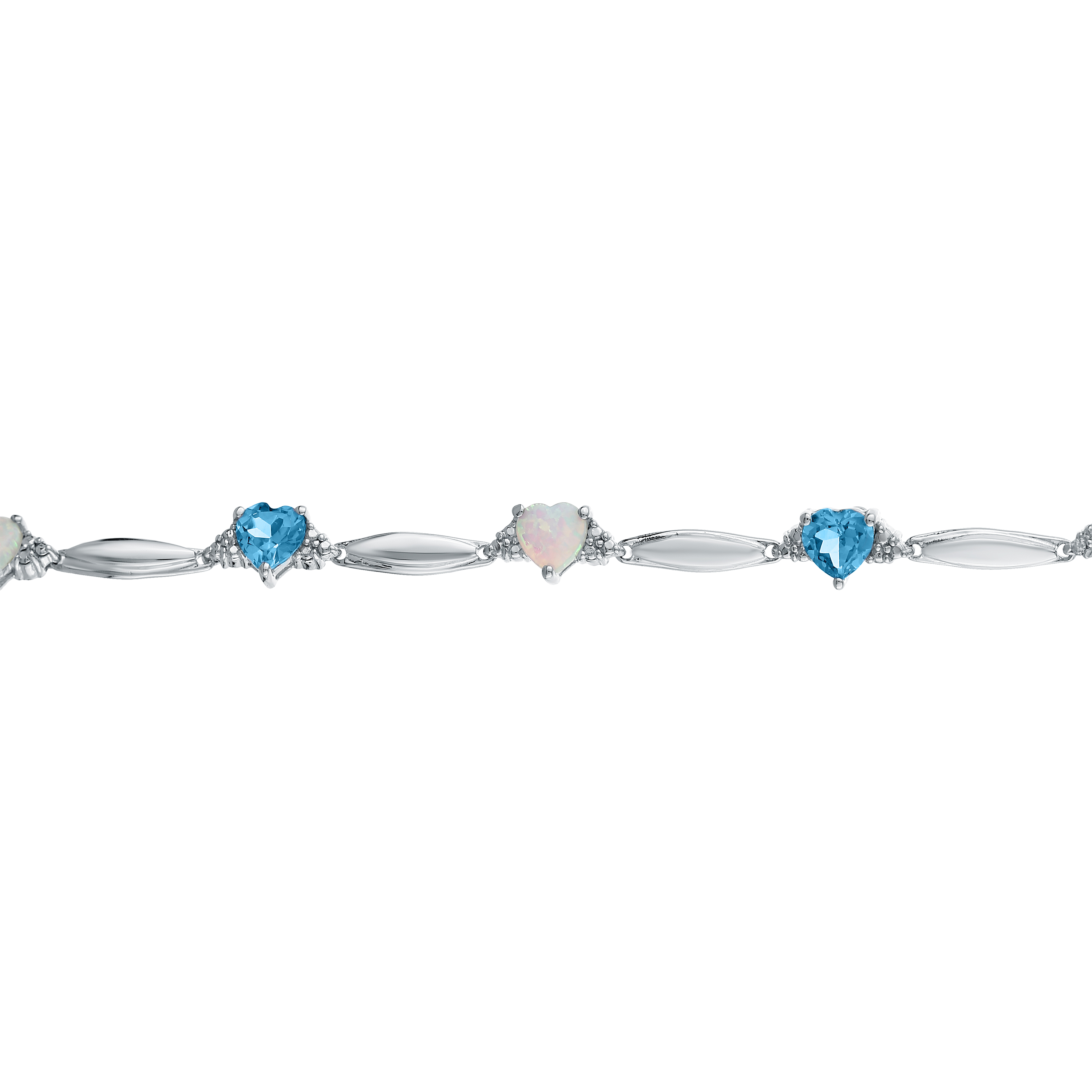 5MM Heart Opal and Blue Topaz .01 cttw Diamond Sterling Silver Bracelet by Lavari