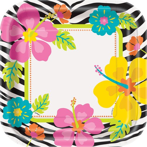 "9"" Square Wild Luau Dinner Plates, 8-Count"