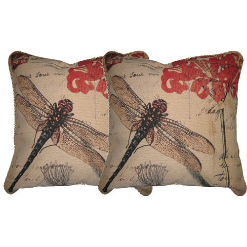 DaDa Bedding Dragonfly Dream Woven Pillow Cover (Set of 2)
