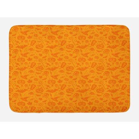 Halloween Bath Mat, Monochrome Design with Traditional Halloween Themed Various Objects Pumpkin Bat Print, Non-Slip Plush Mat Bathroom Kitchen Laundry Room Decor, 29.5 X 17.5 Inches, Orange, Ambesonne