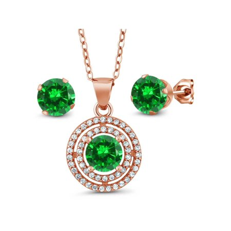 5.14 Ct Round Green Simulated Emerald 925 Rose Plated Silver Pendant Earrings Set - image 3 of 3