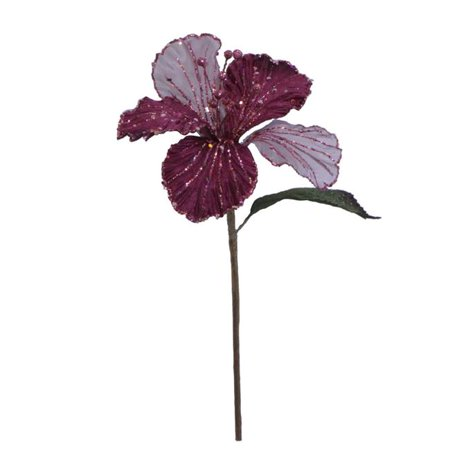 Mauve Velvet Hibiscus Flower Pick, 21 & 6 in.