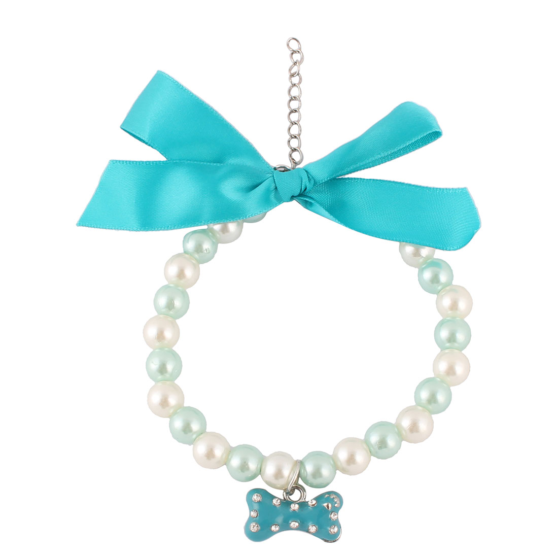 Unique Bargains Outdoor Party Plastic Round Beads Bone Charm Adjustable Clasp Pet Necklace Blue
