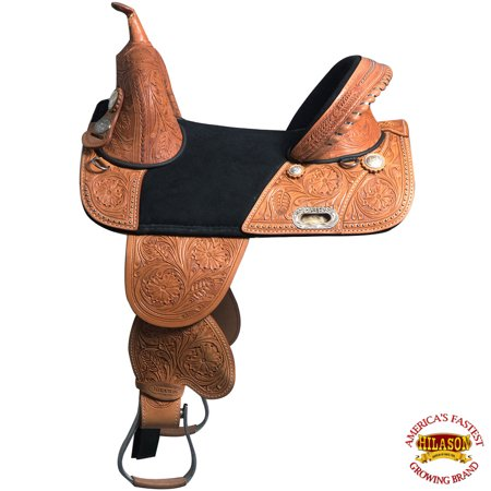 Hilason Western Horse Treeless Trail Barrel Saddle American Leather (Horse Saddle Stand)