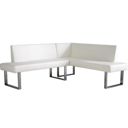 Hawthorne Collections Sectional Sofa in White and Chrome Chrome Sectional Sofa