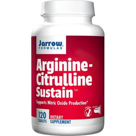 Jarrow Formulas Arginine-Citrulline Sustain Supports Nitric Oxide Production Tablets, 120