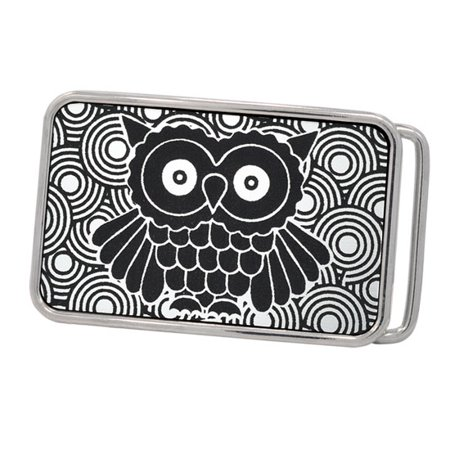 Buckle Rage Hipster Owl Vintage Rounded Rectangle Belt Buckle, POLISHED SILVER, S1017-162-SIL