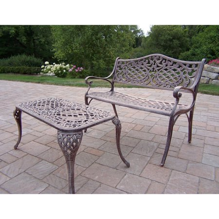 Mississippi Cocktail (Oakland Living Mississippi Cast Aluminum Settee Bench and Cocktail Table Set )