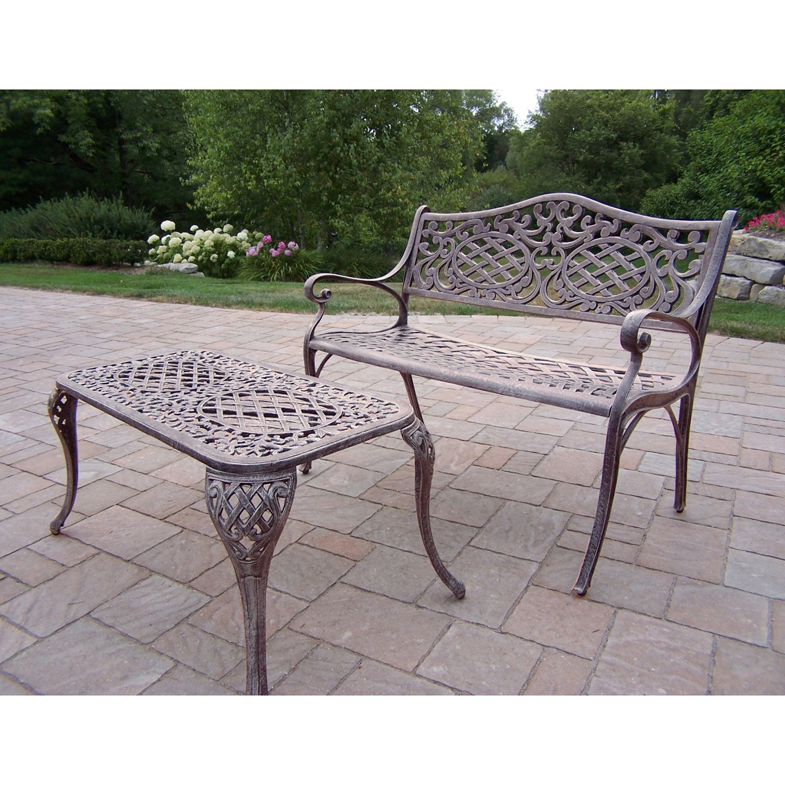 Oakland Living Mississippi Cast Aluminum Settee Bench and Cocktail Table Set