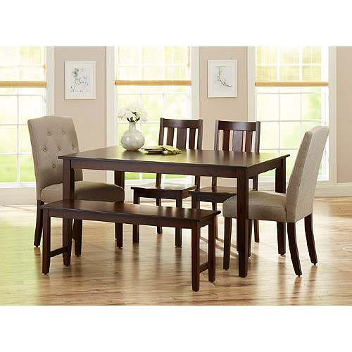 Better Homes and Gardens 6-Piece Dining Set, Mocha/Beige