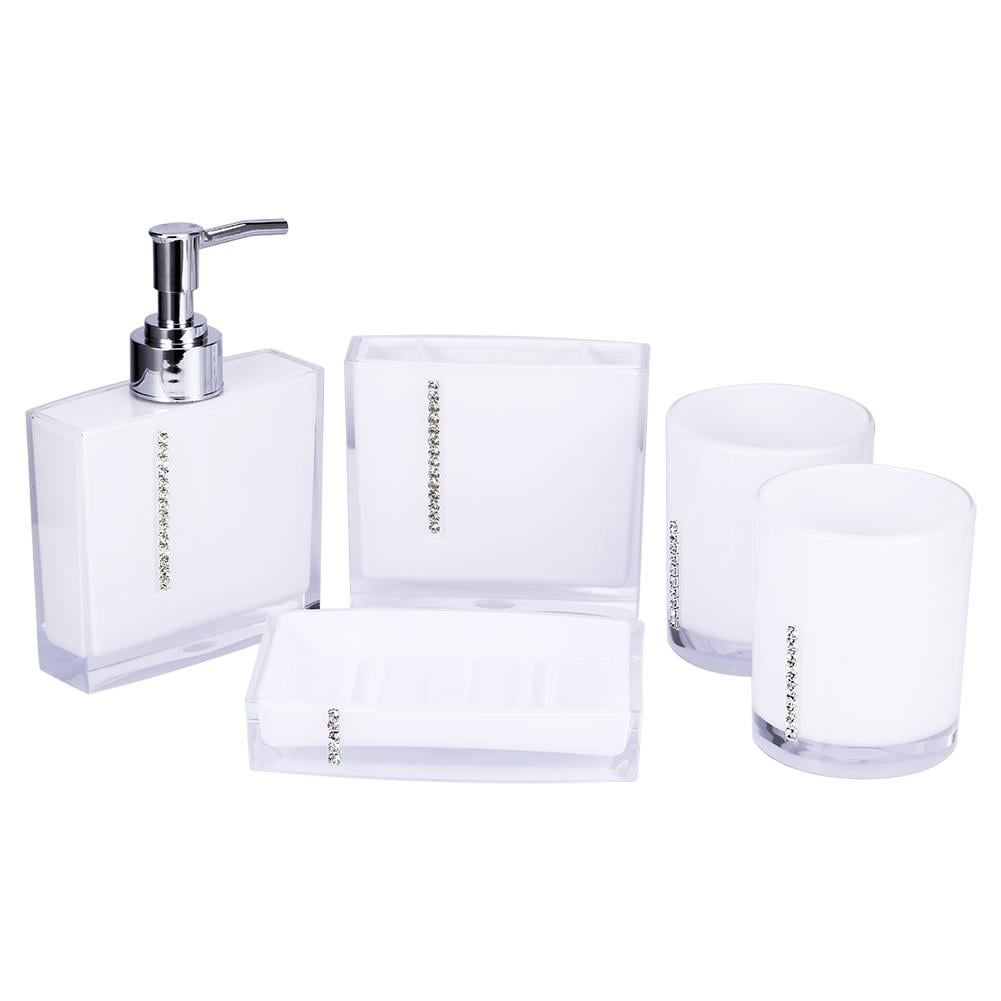 Walfront 5pc Set Acrylic Bathroom Accessories Bath Cup Bottle Toothbrush Holder Soap Dish Purple Red Black White