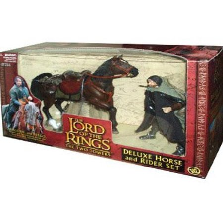 ToyBiz Year 2002 The Lord of the Rings Movie Series The Two Towers Deluxe Horse and Rider Set - Aragorn with Sword Slashing Action and Horse Brego with Galloping Action