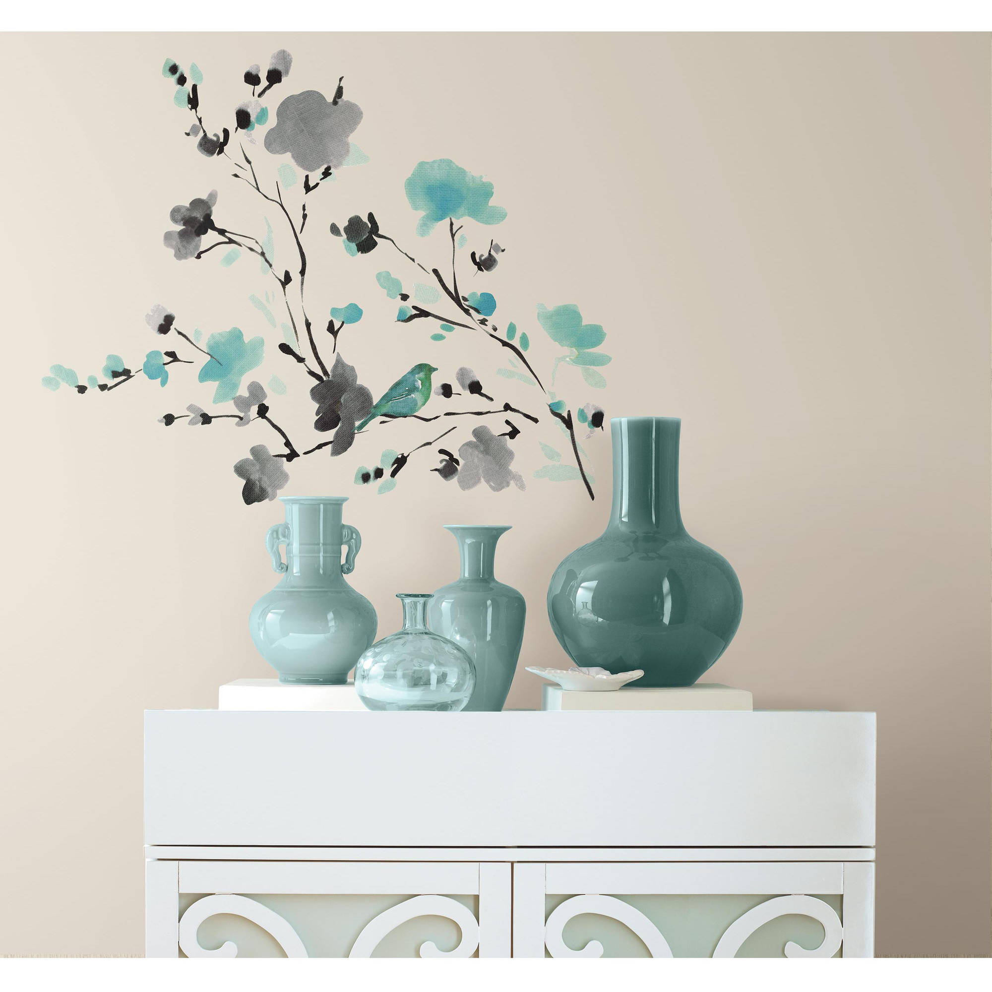 Blossom WaterColor Bird Branch Peel And Stick Wall Decals   Walmart.com Great Ideas
