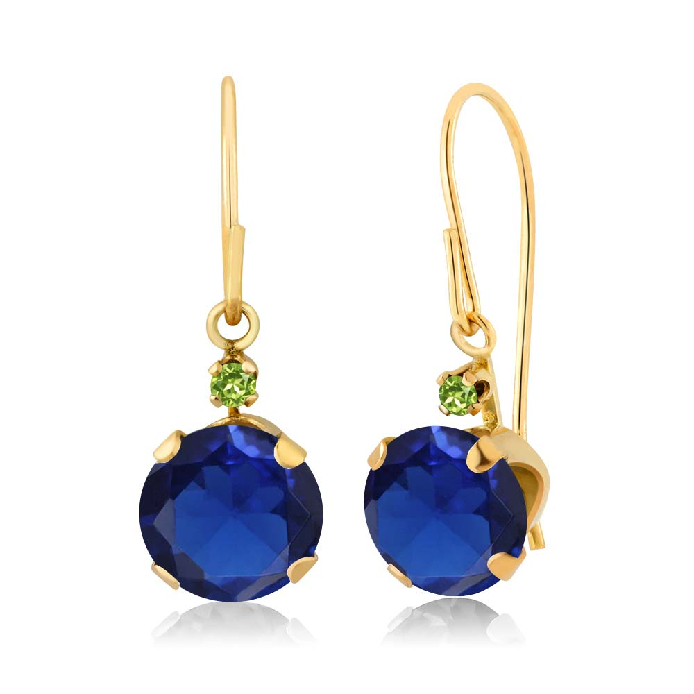 2.04 Ct Round Blue Simulated Sapphire Simulated Peridot 14K Yellow Gold Earrings