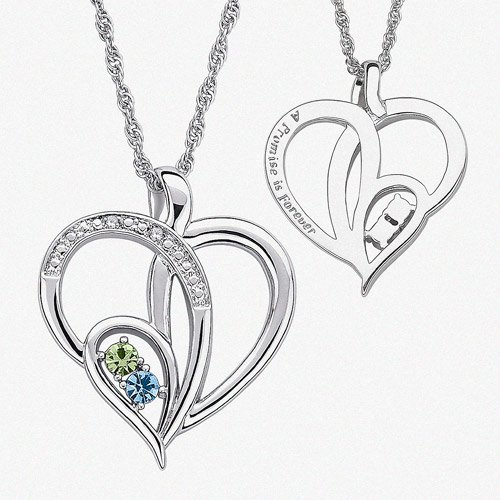 efcaddaf424 Personalized Birthstone and Diamond Accent Silver-Tone Couple's ...