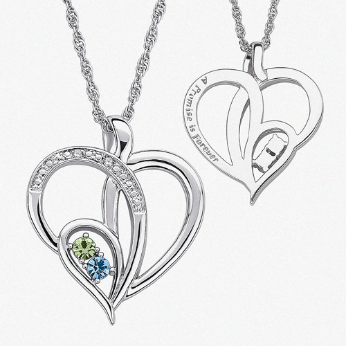 Personalized Birthstone and Diamond Accent Silver-Tone Couple's Heart Pendant, 20""