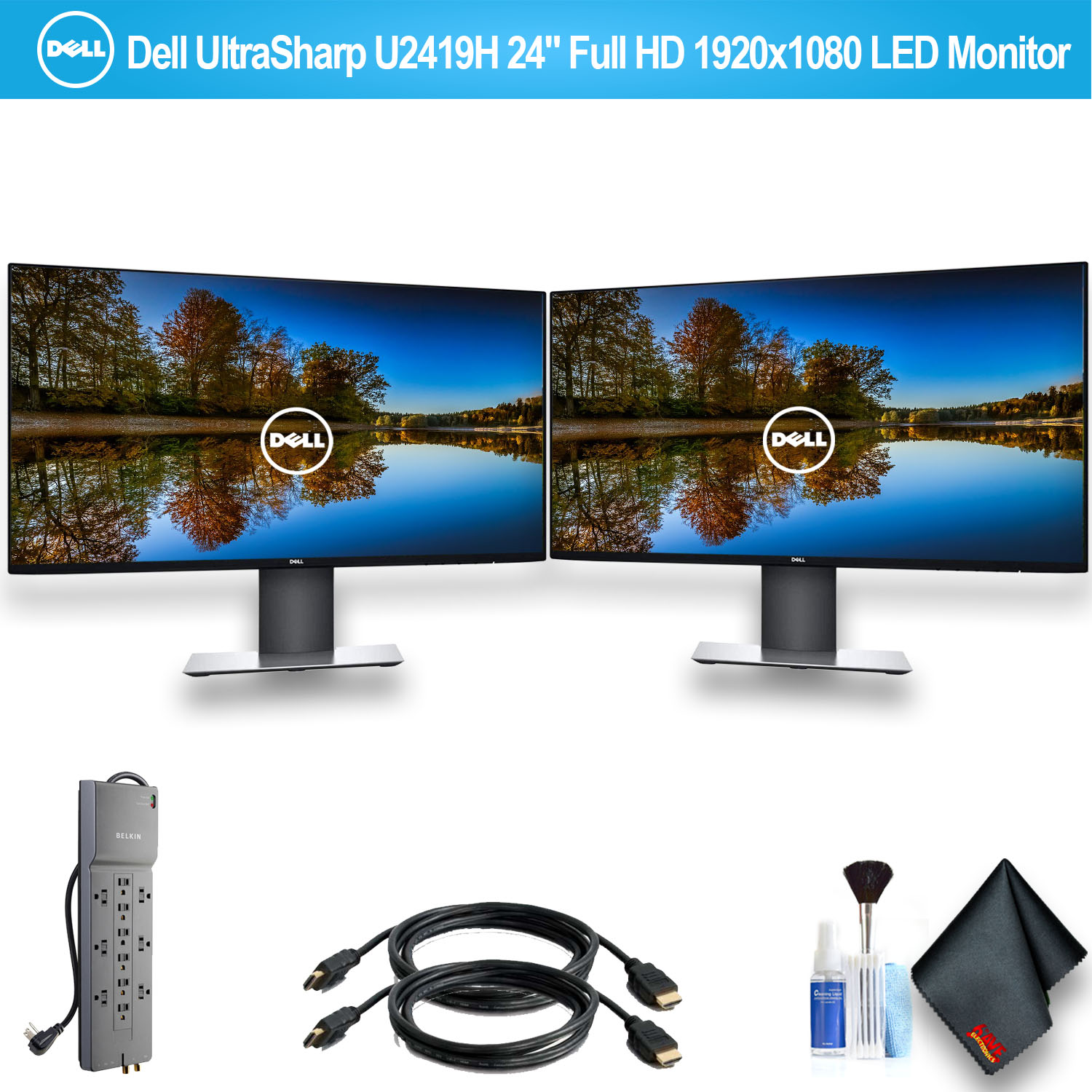 """Dell UltraSharp U2419H 24"""" Full HD 1920x1080 LED monitor Set with 1 - Belkin PowerStrip and 2 - HDMI Cables"""