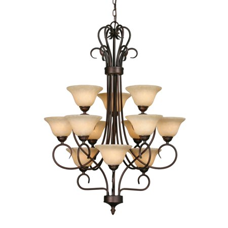 Golden Lighting Homestead 3 Tier Chandelier - Rubbed Bronze Finish