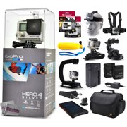GoPro Hero 4 HERO4 Silver CHDHY-401 with 96GB Ultra Memory + Solar Charger + Headstrap + Chest Harness + Floaty Bobber + Suction Cup + Opteka X-Grip + Large Padded Case + Two Batteries + Much More