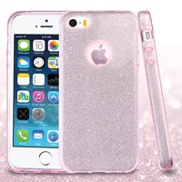 Insten Full Glitter Hybrid Hard PC/TPU Dual Layer Protective Case Cover For Apple iPhone SE / 5 / 5S - Pink