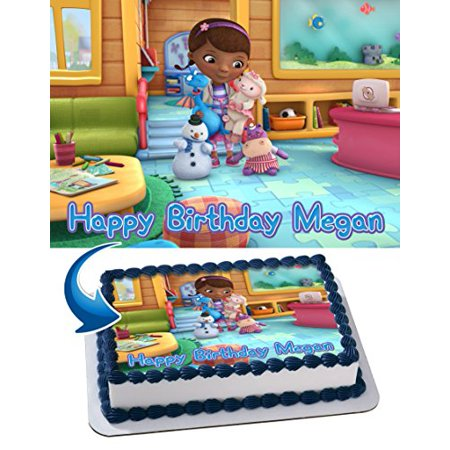 Doc McStuffins Edible Cake Topper Personalized Birthday 1/4 Sheet Decoration Custom Sheet Birthday Frosting Transfer Fondant Image](Doc Mcstuffins Cake Decorations)
