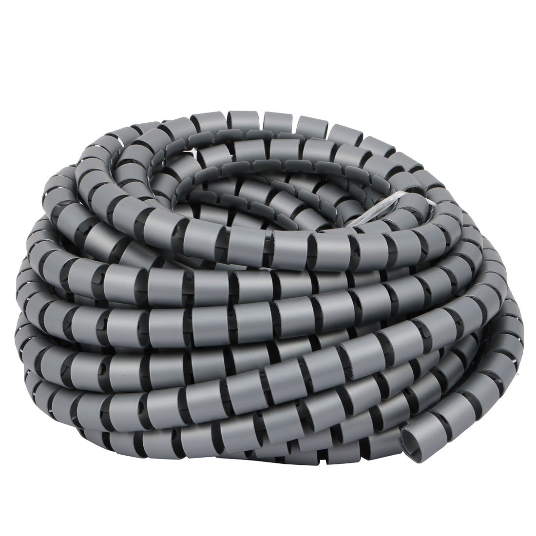 Unique Bargains Flexible Spiral Tube Cable Wire Wrap Gray 15mm Dia x 8.5 Meter Long with Clip