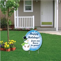 """""""Snowman Happy Holidays! Message"""" Christmas Lawn Display - Yard Sign Decoration"""