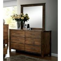 Furniture of America Madera Dresser and Mirror Set, Oak
