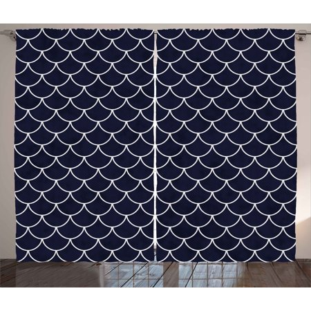 Navy Curtains 2 Panels Set, Shell Pattern with Half Circled Lines Like Ocean Waves Nautical Modern Illustration, Window Drapes for Living Room Bedroom, 108W X 84L Inches, Indigo White, by Ambesonne ()