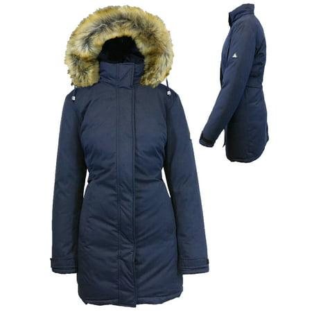 Women's Heavyweight Parka Jacket With Detachable Hood Blue Shop Coat