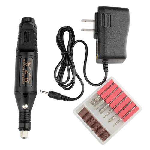 Zodaca Black Nail Art Drill KIT Electric FILE Buffer Bits Acrylic Portable Machine 6 bit Set