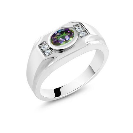 1.76 Ct Green Mystic Topaz White Created Sapphire 925 Sterling Silver Men's - Created Green Sapphire Ring