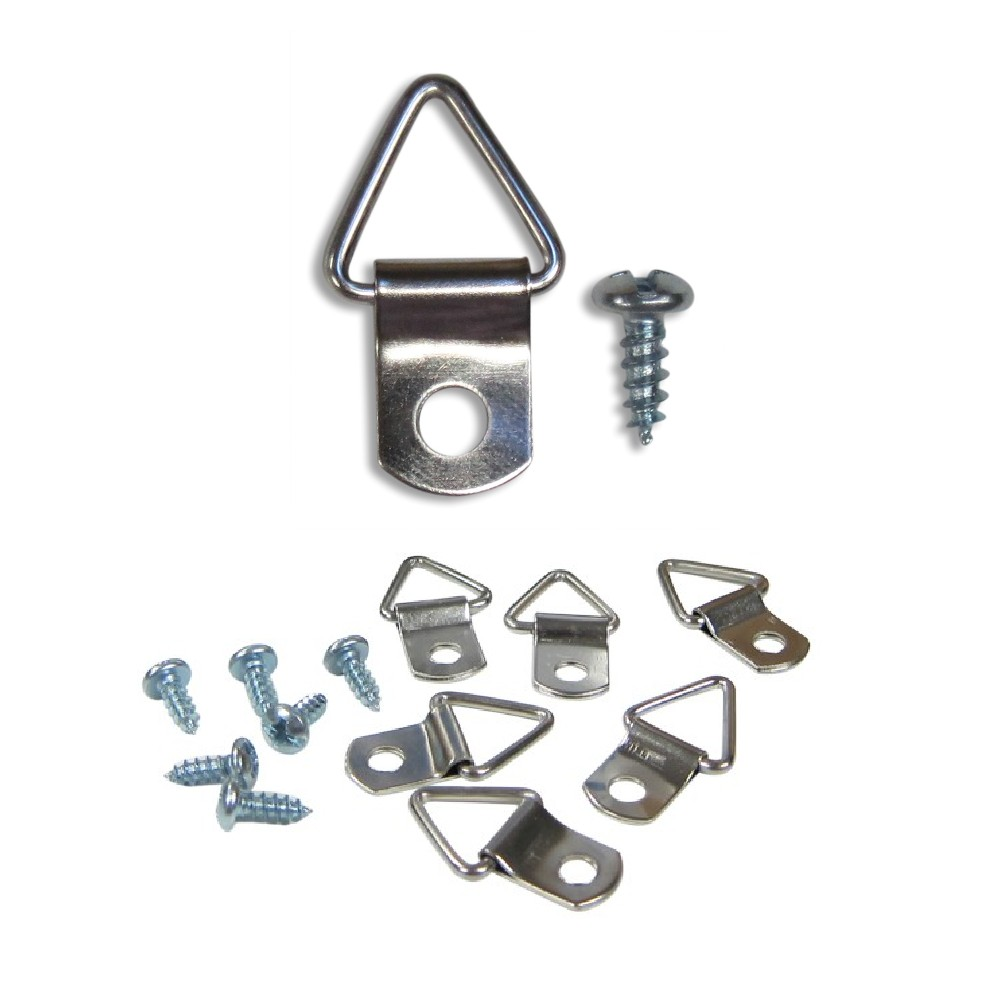 Screws With Cord Nickel Canvas Hook Hanger 10 or 20 sets Picture Frame D Ring