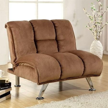 Furniture of America Edlee Fabric Futon Chair in Light Mocha