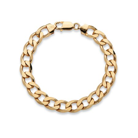 Men's Curb-Link Chain Bracelet in 14k Yellow Gold over Sterling Silver 8
